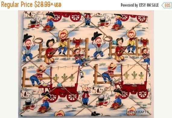 LABOR DAY SALE Cowboy Buddies Memory Board French Memo Board on Etsy Bulletin Board Fabric Board Ribbon Board Western Cowboys Children Boys (23.19 USD) by kayskrafts