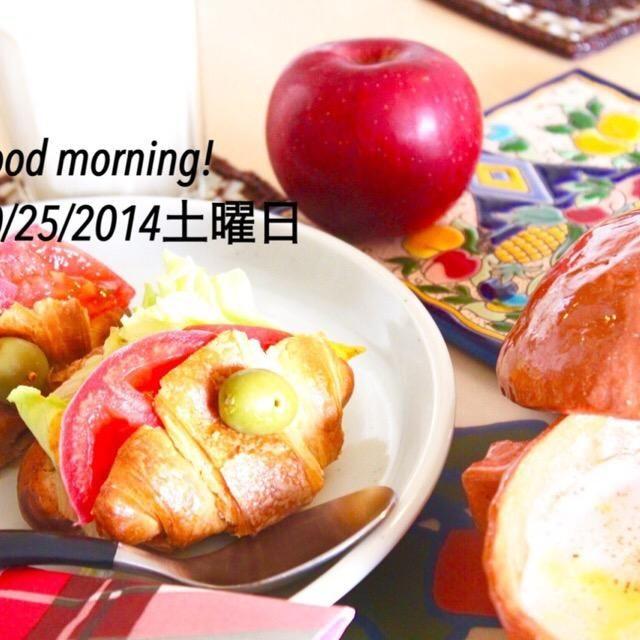 具沢山になったので、オリーブ棒で留めました。 - 21件のもぐもぐ - クロワッサンのオムレツトマトのサンドウィッチ、馬鈴薯スープ by yasuko murakami