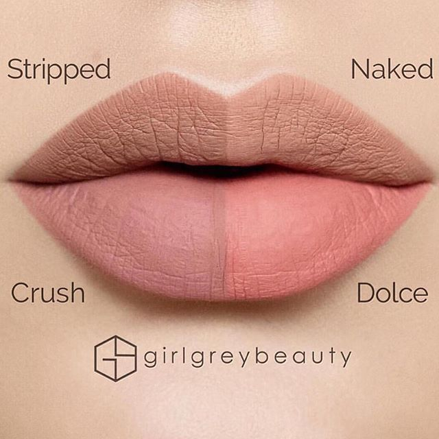 Which one is your favorite ?  ABH nude seriesliquid lipsticks  thank you @girlgreybeauty for these side by side swatches  #anastasiabeverlyhills