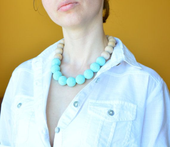 Mint teething necklace Eco friendly jewelry for mom by MyFirstToy