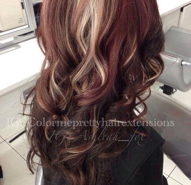 Dark brown/burgundy hair with platinum peek-a-boo's. Love it! Wanna go darker like this!