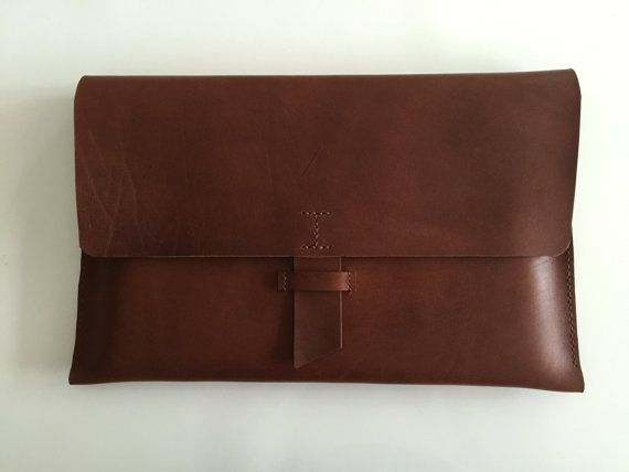 Hand-stitched Leather Laptop Case / Free Personalisation/ Macbook Sleeve/ Brown Leather Portfolio Case