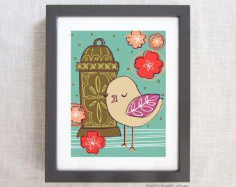 Elizabeth Silver on Etsy: Garden Bird and Lantern Sketch: Giclée Illustration Wall Art Print in Aqua