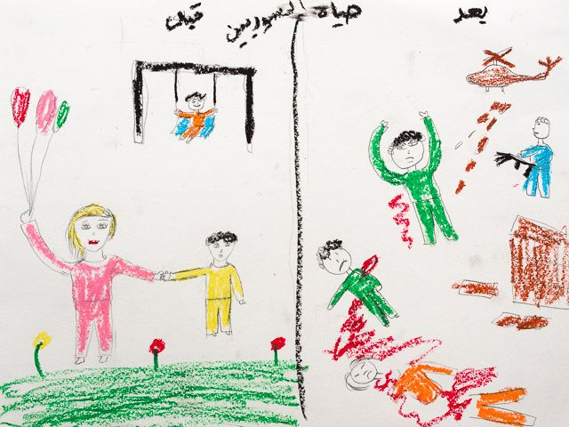 """Artist 4,  Female, 13 yrs, graphite/crayon/white paper, 8"""" x 10,"""" 2013, Free Syria School, Turkey, Drawing topic: dealing with loss. The artist wanted to show life before/after the war. Artwork is between Schematic (Baseline) and Transitional, stiff floating figures, genders are defined, emotion on the faces corresponds to the mood of the scene, graphic, injury, violence and scenes of war with helicopters, guns and rockets."""