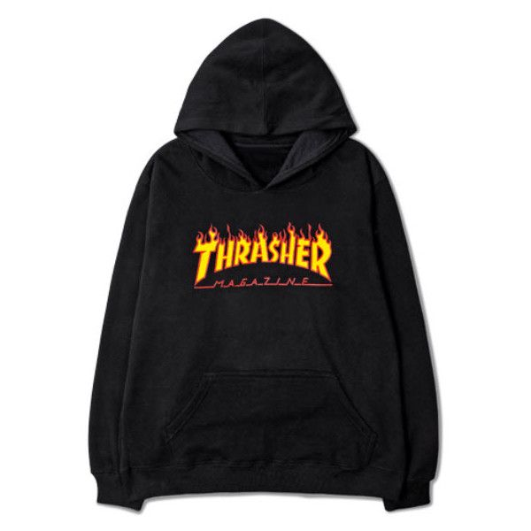 Trasher Hoodie ($54) ❤ liked on Polyvore featuring tops, hoodies, sweaters, cotton hoodie, hoodie top, sweatshirt hoodies, hooded pullover and cotton hooded sweatshirt