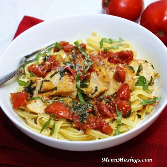 Tomato Basil Chicken Pasta...few ingredients...tomato, basil, olive oil, & chicken!!