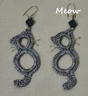 Crocheted Cat Earrings --No tutorial. Just picture.