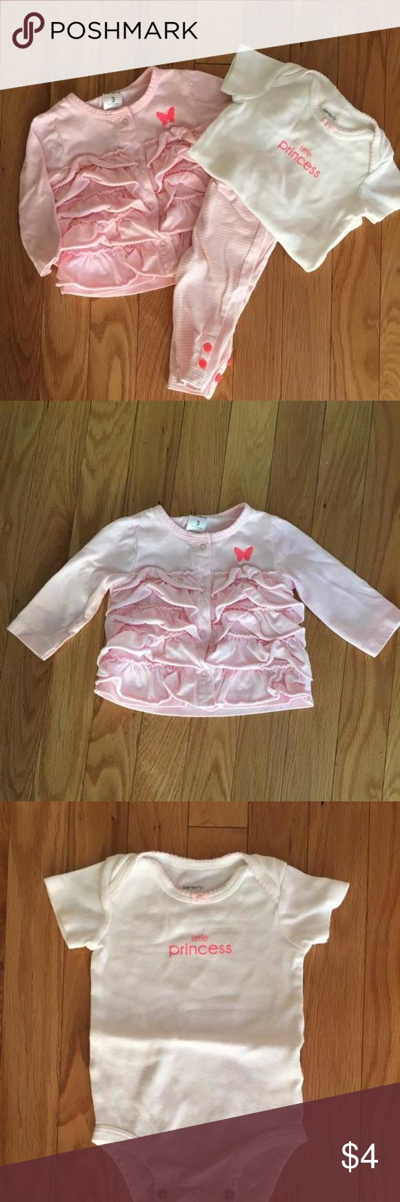 Carter's 3pc Light pink and white 3pc includes little princess onesie, striped pink and white pants and pink lightweight jacket/cardigan. Comes from a smoke free home.  Normal wash wear. Carters Matching Sets