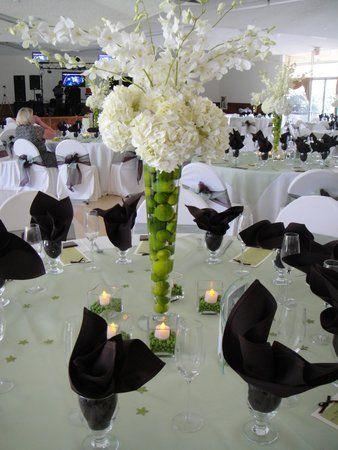 Black White, Lime Green: Receptions Centerpieces, White Flower, Wedding Decor, Black White, Green Centerpieces, Wedding Flower, Receptions Flower, Hydrangeas, Center Pieces