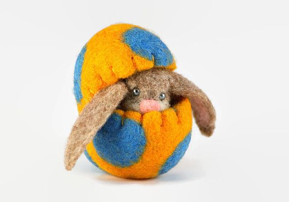 Felted Easter Bunny in a Wool Easter Egg - Miniature Easter Decoration - Home Decoration
