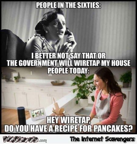Wiretapping then versus now funny meme
