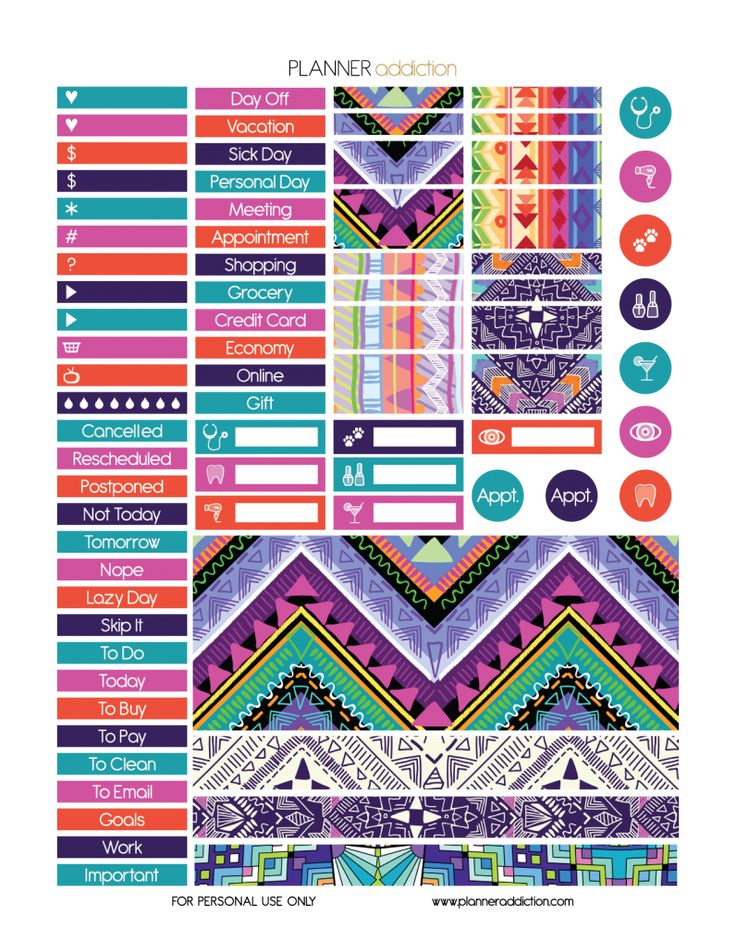 Free Printable Tribal Aztec Planner Stickers {PDF, JPG and Silhouette Files} from Planner Addiction