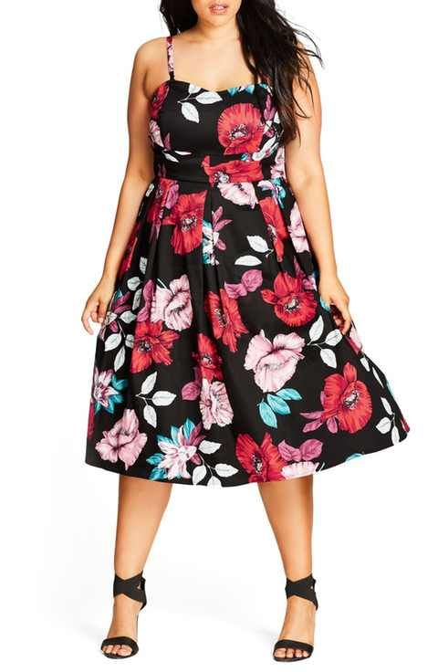 City Chic Poppy Garden Fit & Flare Dress (Plus Size)