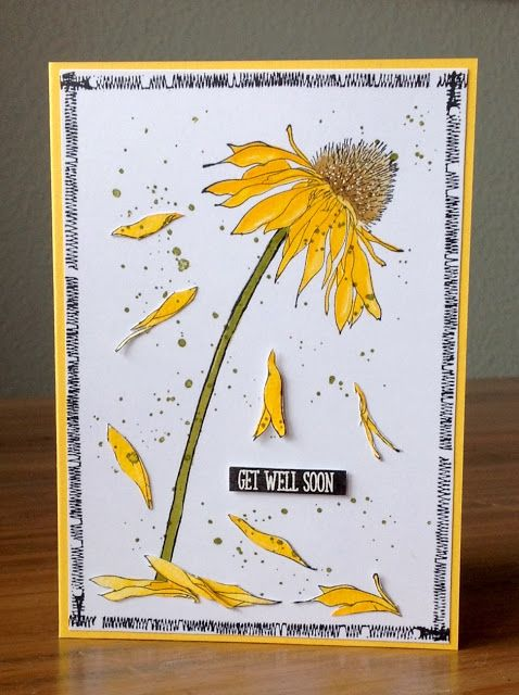 """Die schlichte Karte: Get well soon """"Flowers Garden"""" Stampers Anonymous, Tim Holtz,  """"So to speak"""" Clearly Besotted  """"Stitched Stamp"""" Bo Bunny"""
