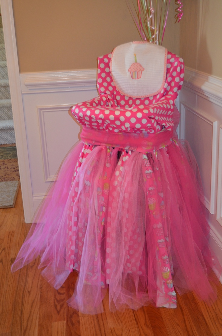 High Chair That I Covered In Fabric And Tulle First