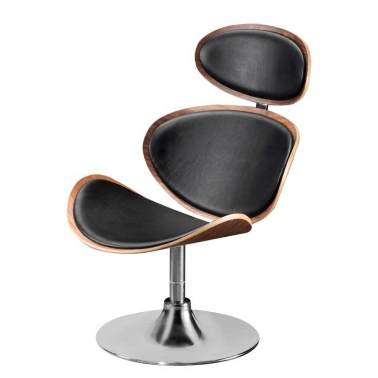 Relaxfauteuil Curve - metaal/geregenereerd bruin-zwart leer