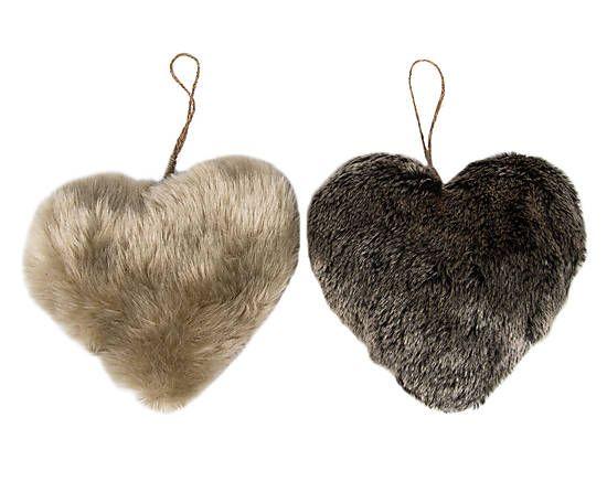 2 Coeœurs pendants fausse fourrure, marron - L13