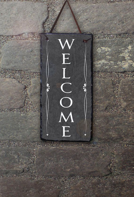 Outdoor Welcome Sign Slate Welcome Sign by SassySquirrelink