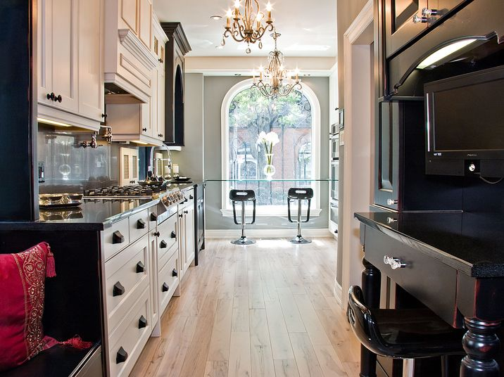 AyA Kitchens | Canadian Kitchen and Bath Cabinetry Manufacturer | Kitchen Design Professionals - Cumberland Distressed Black and Bedford Glazed Latte in Classic Artisan
