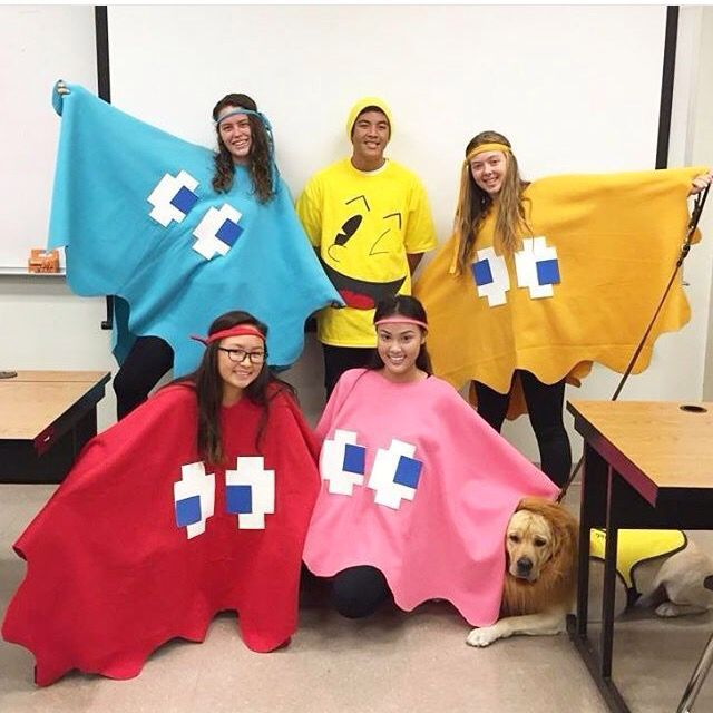 Easy and fun DIY group costume for Halloween!! Pacman and the ghosts.