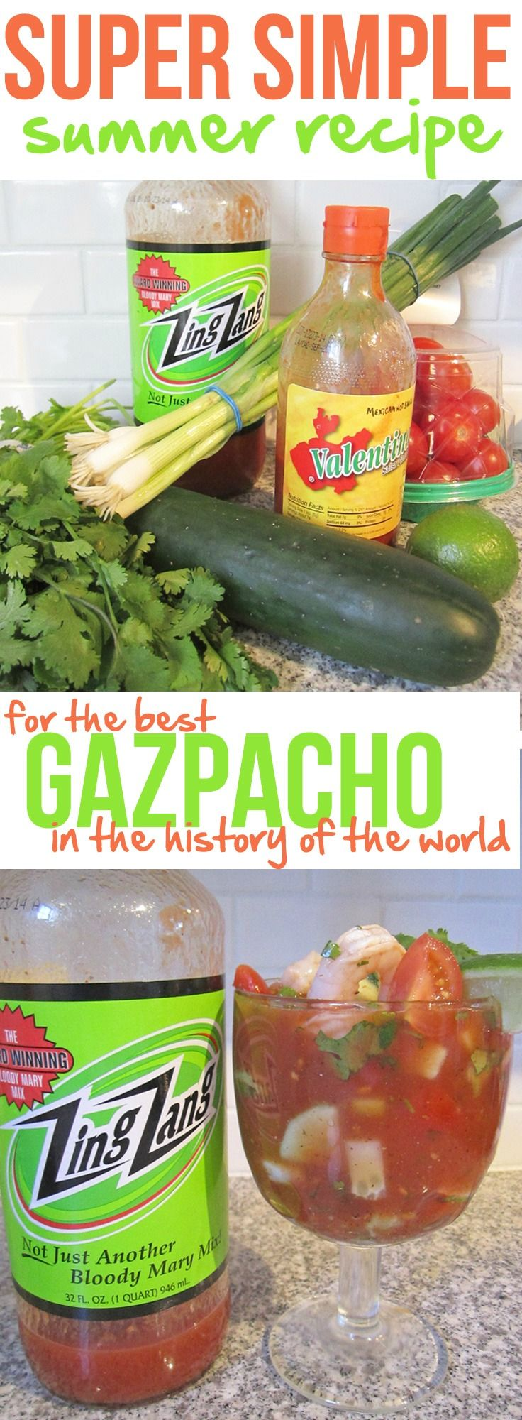 True story. This gazpacho recipe is super simple and really the best thing ever on a hot summer day.