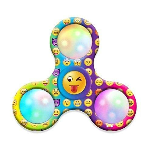 Hot Sale ! Ninasill Exclusive Cool Emoji LED Light Fidget Hand Tri-Spinner Stress Relief Manipulative Play Toy
