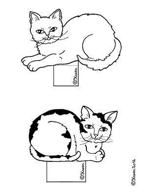 Karens Kravlenisser. Cut-outs and Colouring Pages. : Cats Decoration Figurines Cutouts to Print and Colour. katte dekorations figurer udklip til at printe og farvelægge.