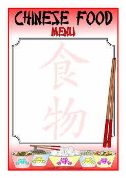 Free Editable Chinese food menu writing frames! 2 styles