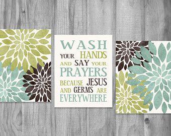 Baño pared arte Set lavado tu manos gérmenes Jesús diciendo flor impresiones Home Decor marrón verde claro azul Teal