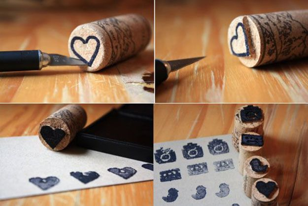 Easy Wine Cork Crafts for Kids to Make - Wine Cork DIY Stamps - DIY Projects & Crafts by DIY JOY at http://diyjoy.com/diy-wine-cork-crafts-craft-ideas
