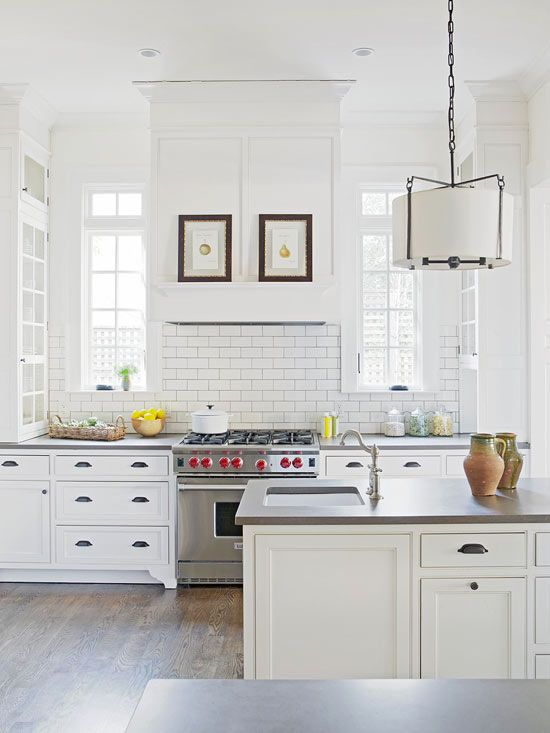 small farmhouse kitchen: Kitchens Interiors, Bright Kitchens, Decor Kitchens, Interiors Design Kitchens, Kitchens Updates, Subway Tile, Living Room, Modern Kitchens Design, White Kitchens