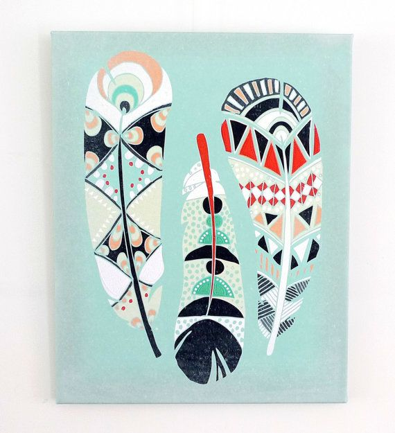 Three Feathers Canvas Textile Art Print by lauraamiss on Etsy, €70.00