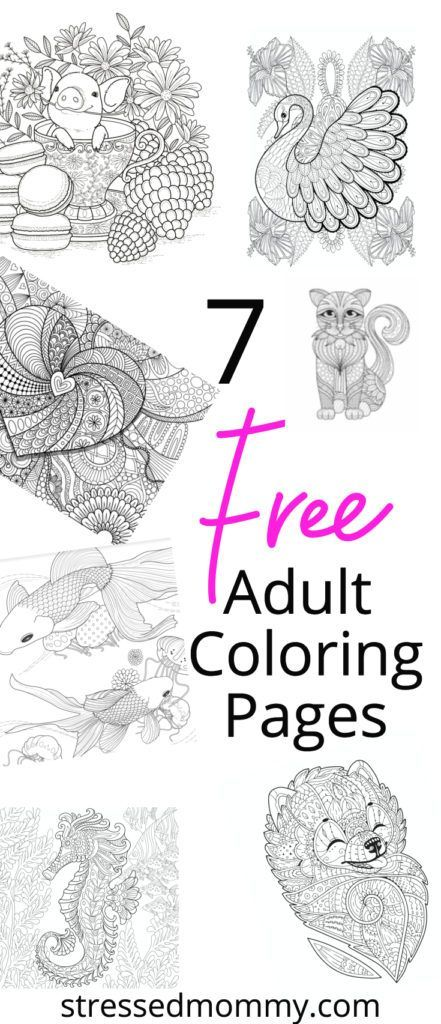 7 Free Adult Coloring Pages. Pin to print out later.