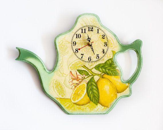 Wall Clock Kitchen Decor Lemons Yellow And Green By Beaumiracle 39 00
