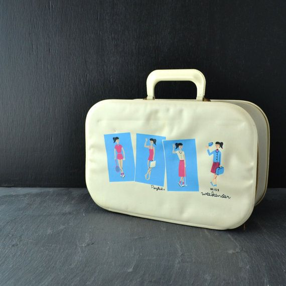 Vintage Ponytail Girl Suitcase - Miss Weekender - Childs Travel Suitcase - Overnight Bag - Vintage Luggage