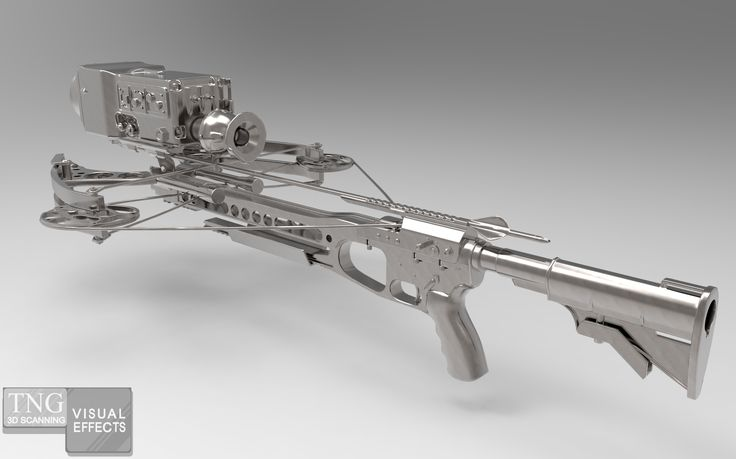 This is a digital 3D model of a crossbow that we textured to a chrome fantasy finish.