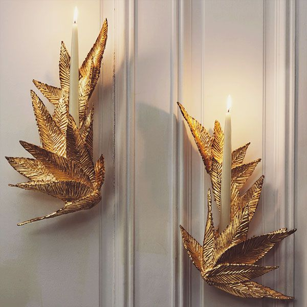 golden wall sconce by michele oka doner
