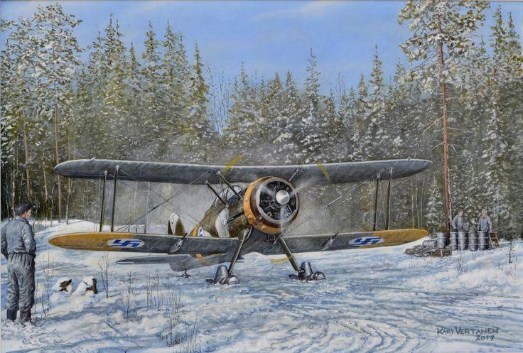 Lentolaivue 16:n Gloster Gladiator II rullaamassa lentoonlähtöä varten alkuvuodesta -43.