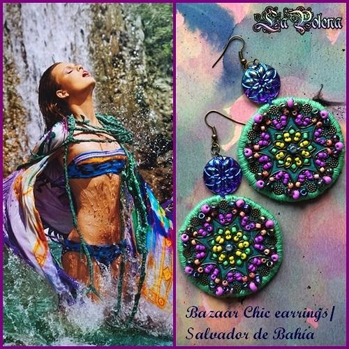https://flic.kr/p/VNmgzD | SALVADOR de BAHÍA Earrings | Bazaar Chic Jewelry by La Polena. Colorful Mandalas, belly dance medallions. Artisan beads Type O by La Polena.