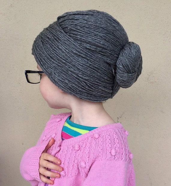 Granny Wig Yarn Wig Old Lady Hat Grandma Hair Bun Style by YumbabY