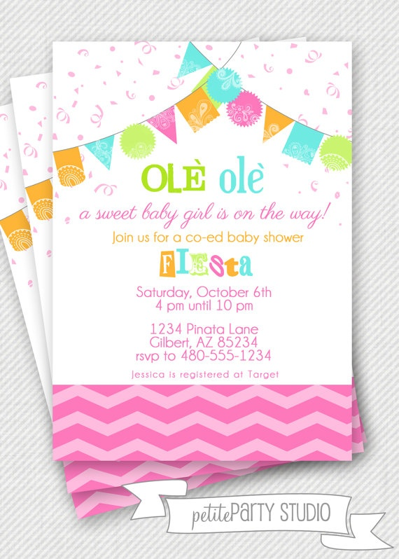 Fiesta party printable baby shower invite petite party - Fiesta baby shower ...