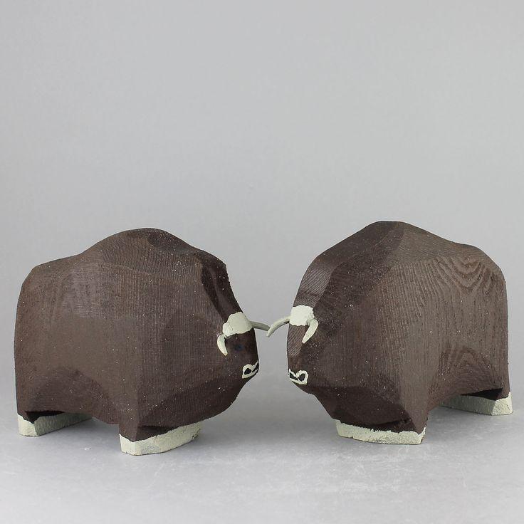 """Johan """"Jönne"""" Malmström (2000s) Two marvelous Musk Ox in Wood"""