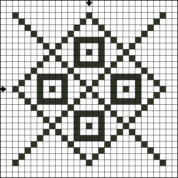 Free Single Color Tile Nine Counted Cross Stitch Pattern - Free Printable Chart