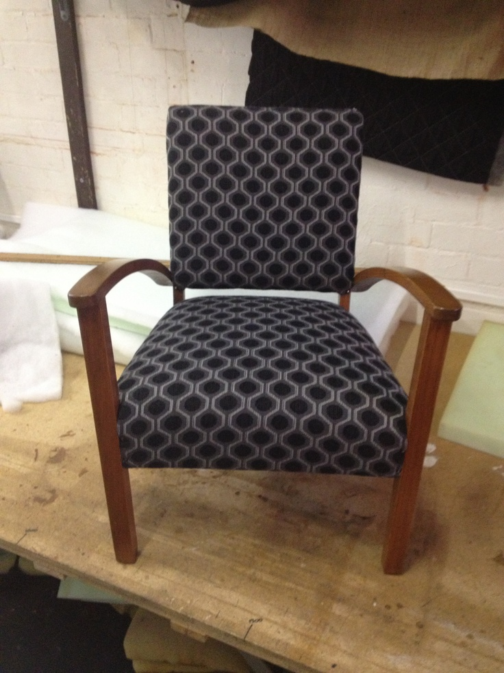 Completely restored fireside chair found at the tip. I striped it back to the frame, stained and varnished the woodwork, replaced all the springs, webbing and foam and then recovered in a Wortley Group fabric.