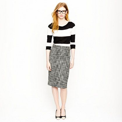 J. Crew Pencil skirt in pepper tweed: Bold Stripes, Outfit, Pencil Cases, Black White Stripes, Jcrew Pencil