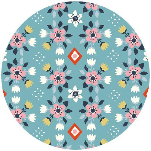 Miriam Bos for Birch Organic Fabrics, Wildland, KNIT, Flowerbed Blue