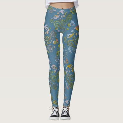 Create Your Own Pastel Marbled Paisley Blue Leggings - blue gifts style giftidea diy cyo
