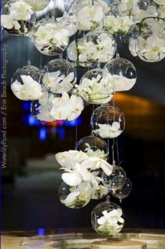 30 Ways To Use Hanging Glass Globes At Your Wedding Wedding Flowers Wedding Decorations