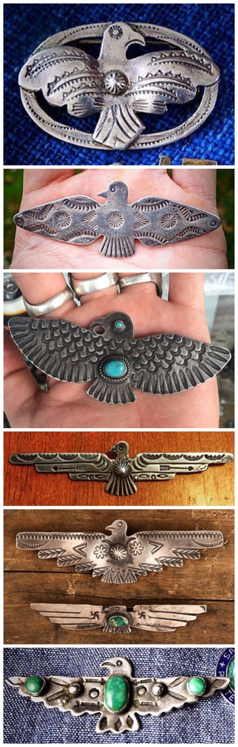 Vintage Navajo silver and turquoise thunderbird pins.