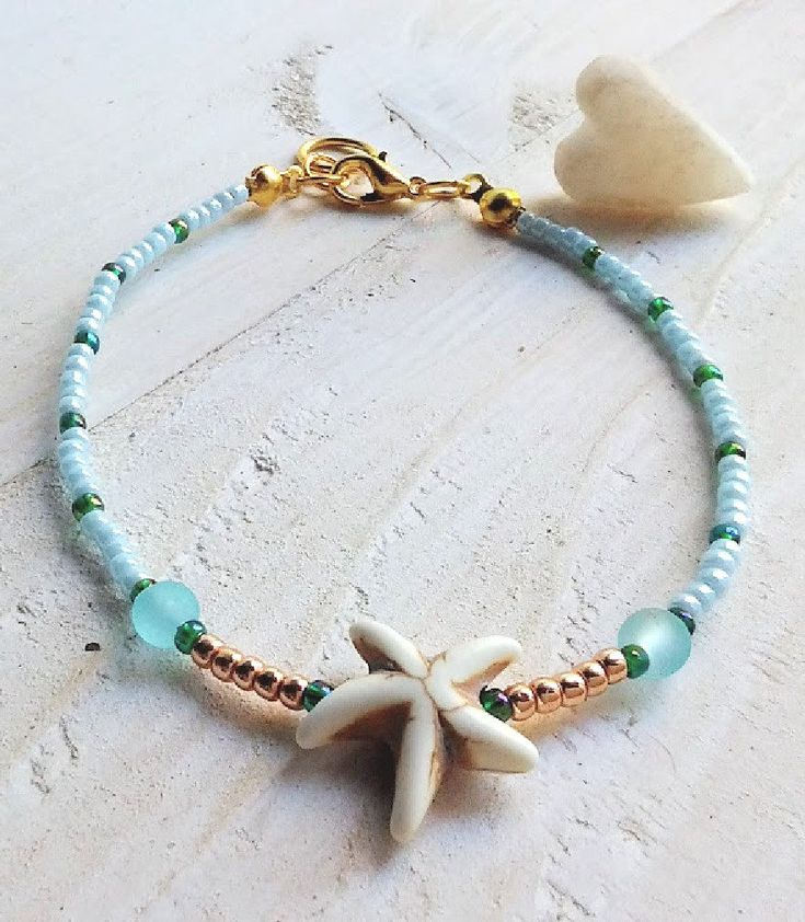 Blue White Gold Starfish bracelet, Friendship gift, Summer jewelry, Beach bracelet, Refined arm band, Body jewelry, Miyuki bracelet, Mermaid summerbeachisland.etsy.com 8,95€